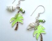 Hawaiian Holiday - Palm Tree and Seashell Earrings