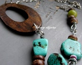 THE AXIS OF EARTH - long organic OOAK wood silver and raw stone on chain chunky statement NECKLACE