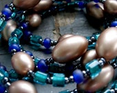 HONEY and VIOLET - long wrap, simple beaded brushed gold, gunmetal, teal & blue glass  NECKLACE