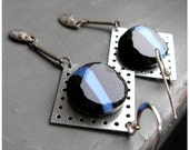 TECHNIQUE - square, bold, industrial silver metalwork, raw blue & black glass awesome EARRINGS