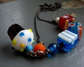 CUPCAKE with SPRINKLES - bright, colorful millifiori glass & small handmade lampwork cupcake charm chain NECKLACE