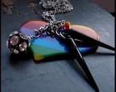 RAINBOW SPIKE - bold colorful heart, crystal ball, spike & silver charm chain party statement NECKLACE
