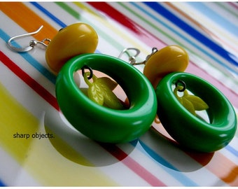 Verde - vintage 80's penny candy charm & green and yellow chunky acrylic statement earrings
