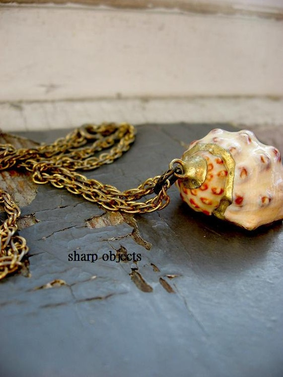 CONCH - miniature ceramic handmade shell charm pendant & long gold double vintage chain NECKLACE