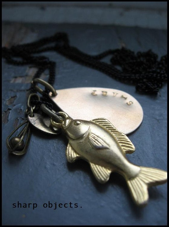 CATCH - mens antique metalwork bass fish charm, lure & stamped hardware tag chain NECKLACE