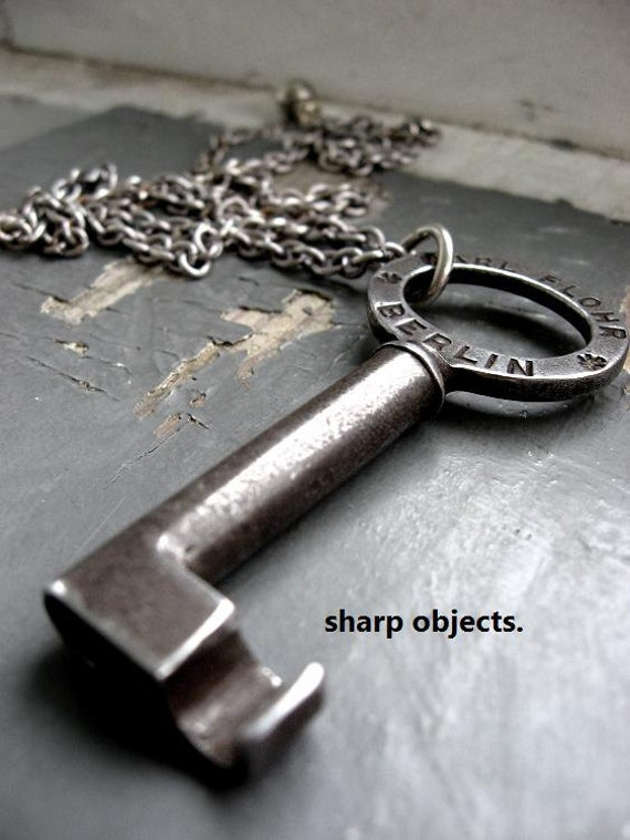 QUESTION - mens oversized vintage German steel stamped, numbered skeleton key & charm chain NECKLACE