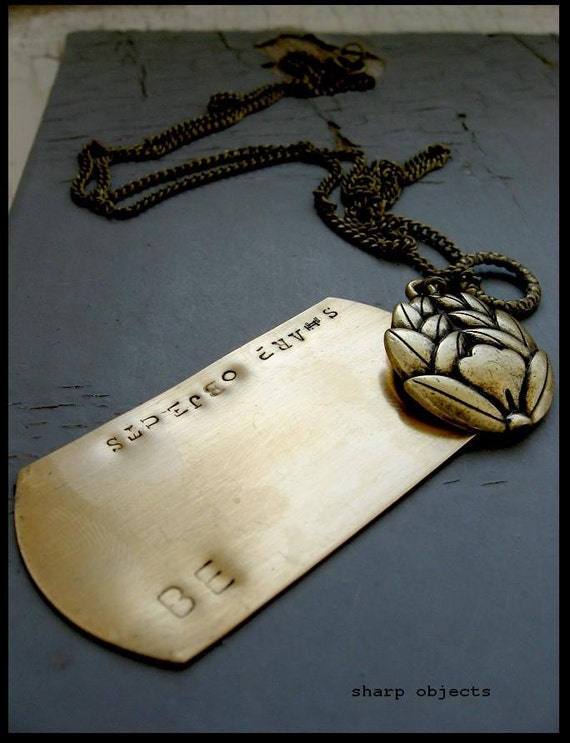 ESOTERIC MYSTICISM - mens CUSTOM layered antique brass metalwork lotus and stamped metal tag chain NECKLACE