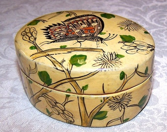 Vintage Lacquered Paper Maché Trinket Box in Yellow with Asian Butterfly Design