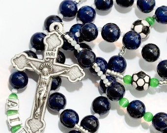 Personalized Boys Soccer First Communion Rosary