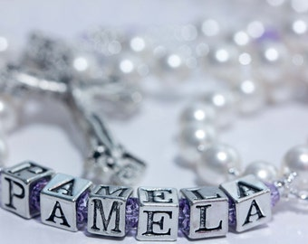 Personalized Rosary in Pearl & Lavender Crystal - February birthstone