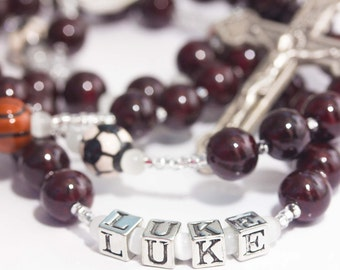 Personalized Sports Rosary in Burgundy Maroon Crimson