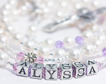 Personalized First Communion Rosary in Pearl & Lavender Crystal