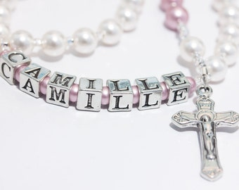 Personalized Rosary for Baptism or Baby's First in White and Pink pearls