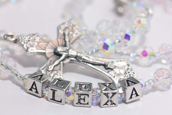 First Communion Rosary in Clear Crystal April Birthstone with name
