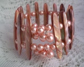 Memory Wire Cuff Bracelet Peach Pearls Mother of Pearl Shell