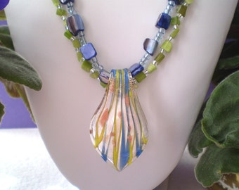 Cat's Eye Mother of Pearl Necklace Lime Green Cobalt Blue Spoon 2-Strand