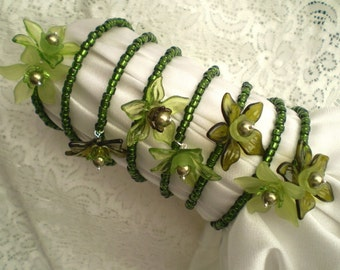 Olivine Green Bracelet 7-Strand Acrylic Flowers Pearls Seed Beads Memory Wire
