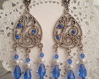 Blue Crystal Chandelier Earrings Swarovski-studded Antique Silver Pewter Drops Very Long