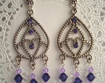 Long Purple Crystal Chandelier Earrings Antique Silver Dangle Orchid Lilac Violet