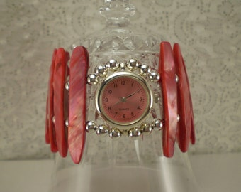 Funky Watch Coral Pink Mother of Pearl Shell Beads Silver