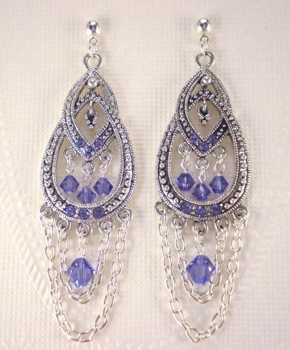 Tanzanite Crystal Earrings Purple Chain Swags Chandelier