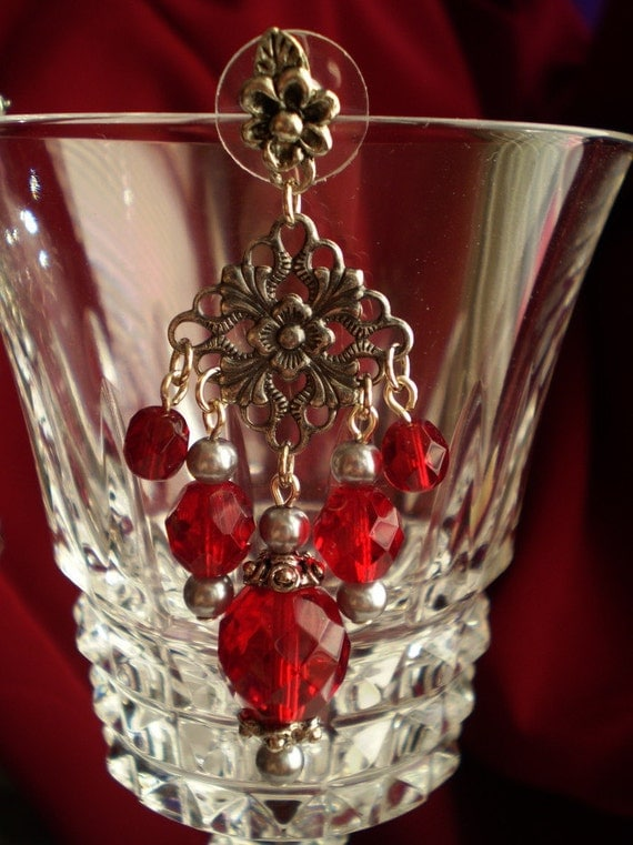 Dangle Earrings: Garnet Red Fire Polished Beads Antiqued Silver Filigree Drop Chandelier
