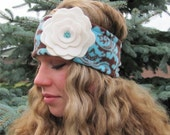 Damask (Brown and Turquoise) Ear Warmer