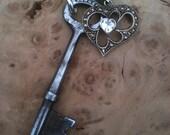 Vintage Skeleton Key & Rhinestone Heart Necklace