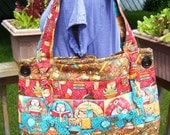 Quilted Button Tote Teacher Owl Print