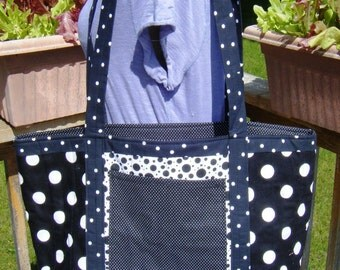 Market Tote Quilted Black and White Polka Dot