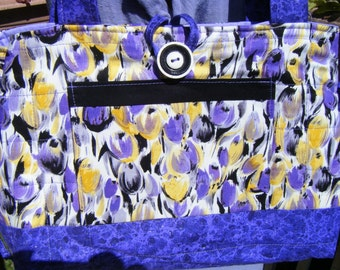 Purse Bow Tuck Quilted Handbag Painted Tulips