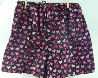 Valentines Day boxer sleep shorts hearts and glitter on black XL