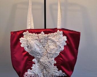 Fuschia Bridal tote bag satin and beaded lace