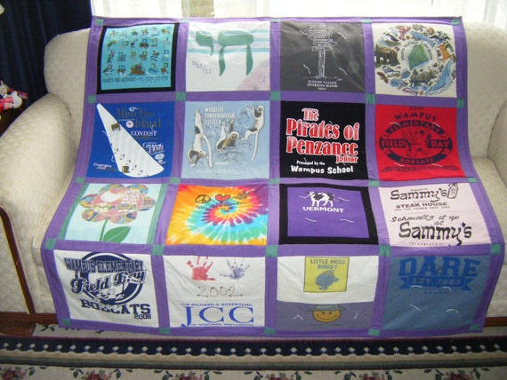 Tshirt Quilt Memory Quilt Lap or Throw Size custom made