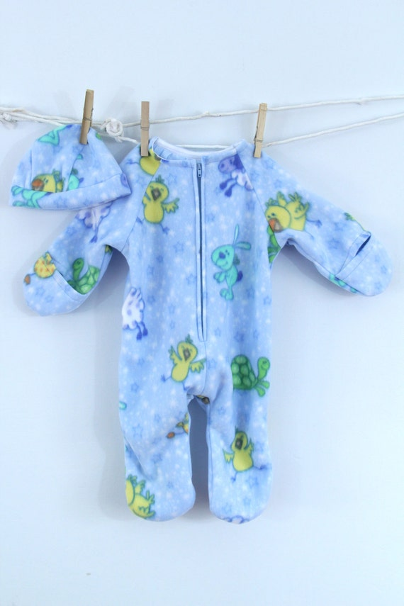 Baby Bunting in light blue baby animal print fleece