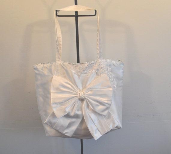"bridal tote bag satin and lace brides bow rhinestones ""diamond"" dazzle"