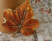 Vintage Brooch Maple Leaf Crown Trifari Orange Enamel