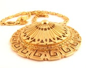 Monet Medallion Gold Necklace Scroll Chain