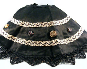 Antique Collar Black Lace Handmade Fabric Buttons Halloween Costume Cosplay Cos Play Witch Victorian Goth