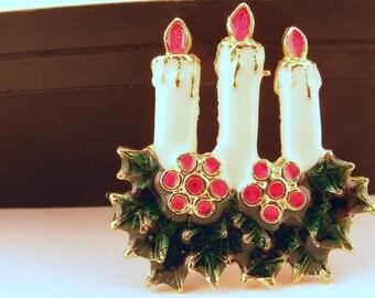 Vintage Christmas Brooch Enamel Candles