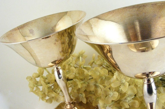 Vintage Eales Of Sheffield Silver Plated Wine Goblets Set Of 2