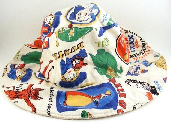 Vintage Childs Canvas Floppy Hat Brand Advertising
