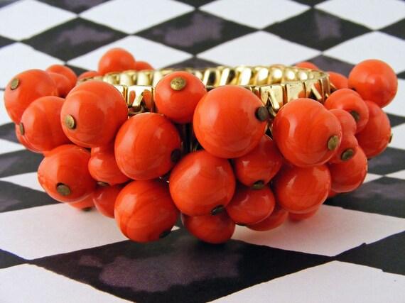 Cha Cha Bracelet Expandable Orange Red Glass Bead Charm Dangles