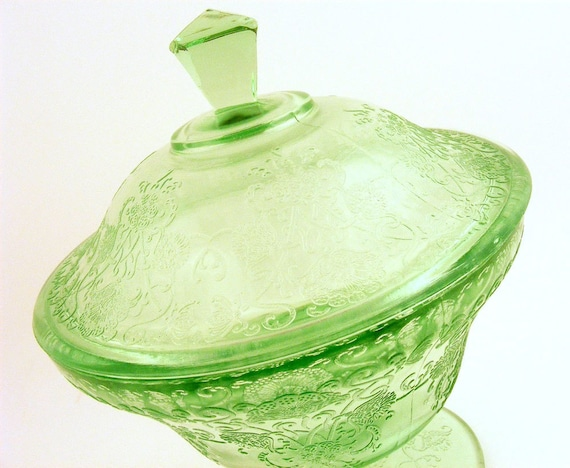 Green Depression Glass Candy Dish with Lid Hazel Atlas Florentine Poppy Footed