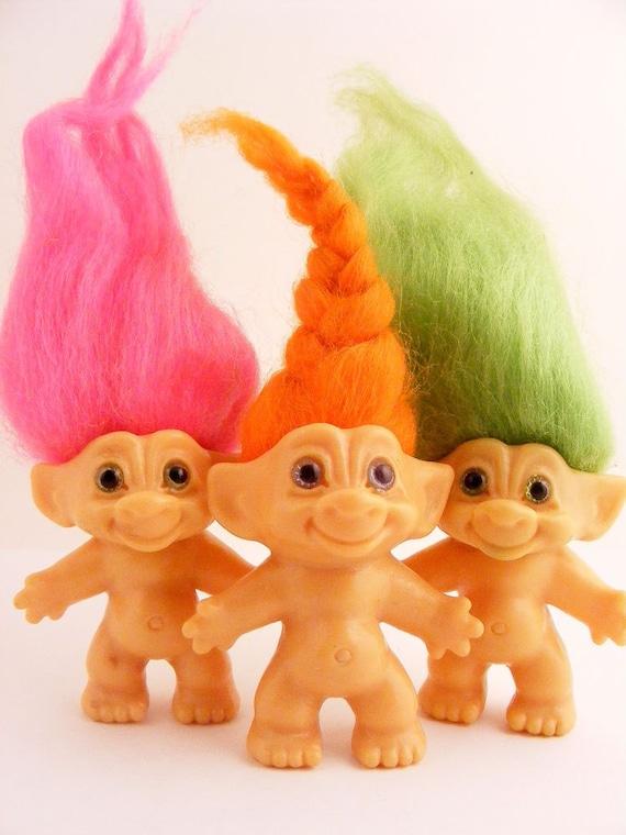 Vintage Troll Dam Dolls Neon Color Hair Pink Green Orange Lot