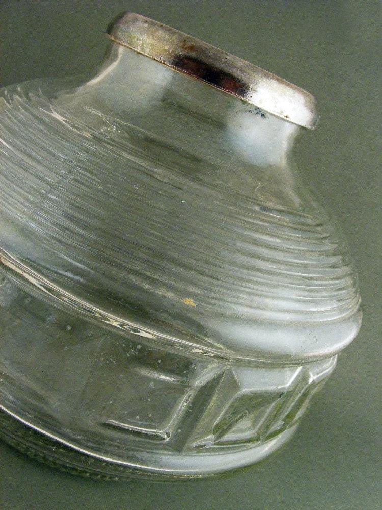 Vintage Kerosene Oil Lamp Base Green Glass