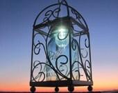 Mason Jar Solar Light, Vintage Blue Mason Ball Jar with Bird Cage Solar Lantern, Quart JAR, Handmade Upcycled Lighting, Garden, Patio, Deck, Nights, by TreasureAgain
