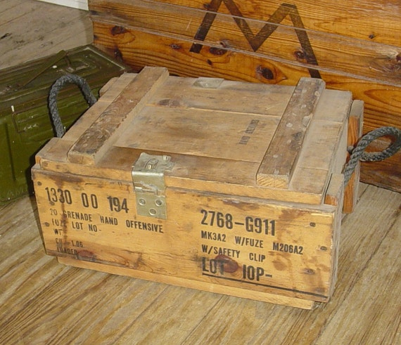 Vintage Wooden Ammunition Box For Hand Grenades By