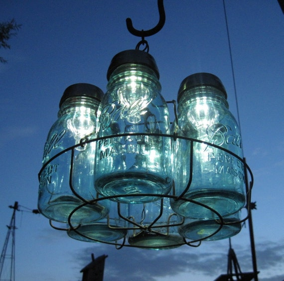Vintage Chandelier, Antique Mason Jars and Solar Lights Chandelier, 6 Blue 1-QUART Solar Jars and Wire Basket , Upcycled Lighting, Weddings,Garden Party
