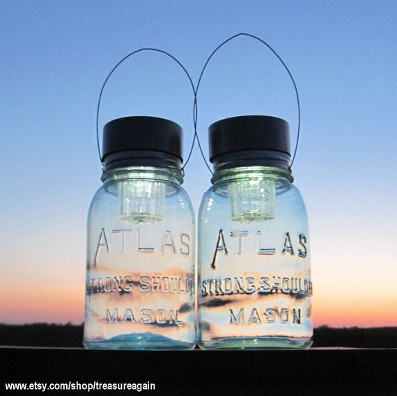 RESERVED, Soft Blue Solar Atlas Mason Jars Antique Glass Lights